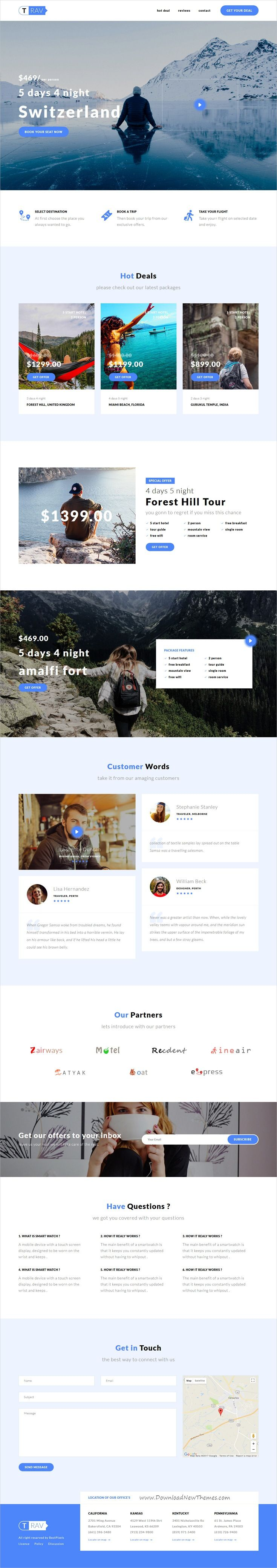 Trav is clean and modern design responsive #bootstrap template for professional #travel agency landing page website download now..