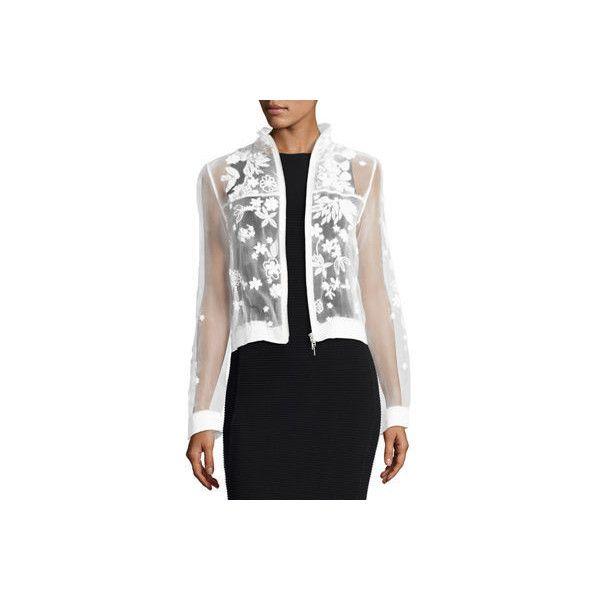 Elie Tahari Suri Embellished Floral Silk Bomber Jacket (19,805 PHP) ❤ liked on Polyvore featuring outerwear, jackets, white, white cropped jacket, cropped jacket, bomber jacket, floral bomber jacket and floral jackets