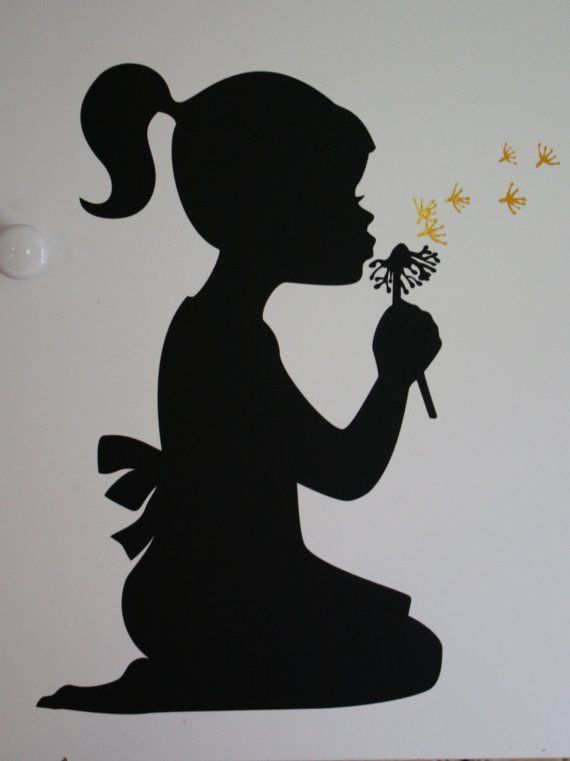 Silhouette girl blowing dandelion - vinyl wall design