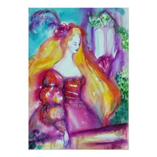 ROMEO AND JULIET BALCONY SCENE FINE ART POSTER Watercolor Painting by Bulgan Lumini (c)