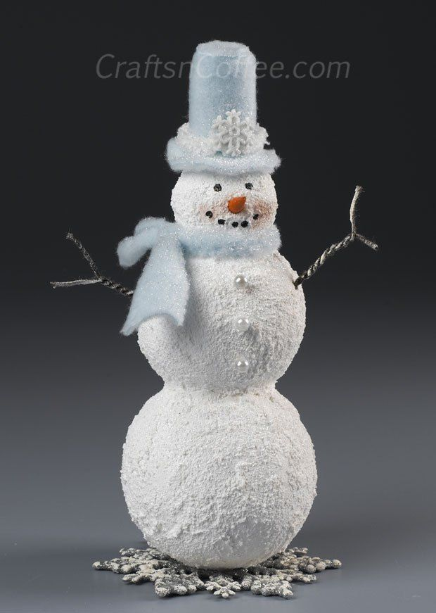 Such a cute snowman craft! This Snowman is easy to DIY with Styrofoam balls and textured snow paint. Tutorial on CraftsnCoffee.com