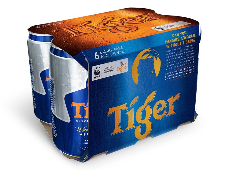 Tiger Beer - 2890 Tigers - working with the World Wildlife Fund to save endangered tigers.  Helps support Tx2, a commitment made by 13 tiger-range countries to double the tiger population by 2022. Tiger Beer has already donated one million dollars to the cause, and came up with a special tiger-less can to show their support.