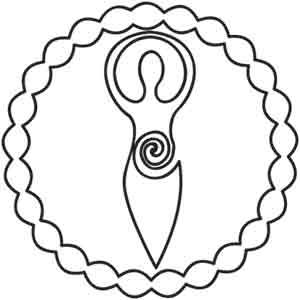 Feminine power reigns in this spiritual goddess design, encompassed in a perfect and complete circle.