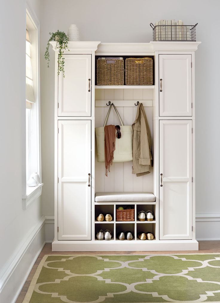 Create storage space where there isn't any. This all-in-one mudroom piece is ideal for entryways that lack coat closets or for mudrooms. #organizewithhdc