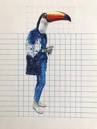 Dominique Schwarzhaupt | Colored Pencil and graphite pencil on paper. Dibujo sobre Papel. Streetstyle