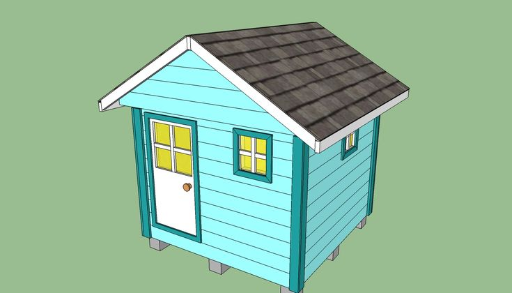 Wooden playhouse plans should make it portable so we can for Kids playhouse shed