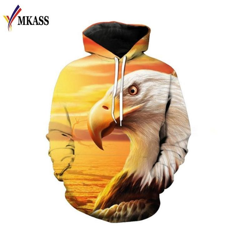 Hot Sale 3d Sweatshirts Men/Women Hoodies With Hat Print Yellow Hawks Autumn Winter Loose Thin Hooded Hoody Tops