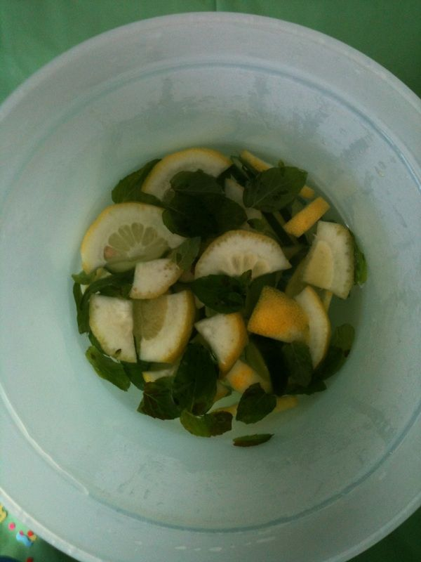 """""""skinny water"""" - cucumber, ginger, mint, lemon, and water. Keeps you hydrated without adding added calories"""