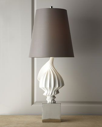 """Jonathan Adler - White Shell Lamp - Horchow Polished nickel base. Hand-cast, unglazed white porcelain sculpture. Gray silk shade. Three-way switch; uses one 150-watt type A bulb. 15""""Dia. x 37""""T."""