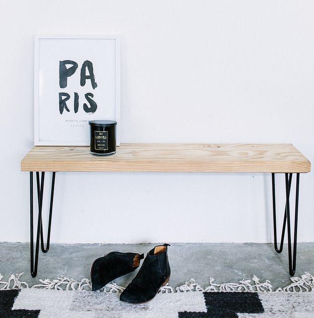 Do It Yourself   Room Decor   DIY Hairpin Leg Bench by http://apairandasparediy.com