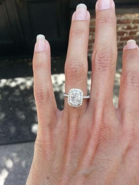 Found on Weddingbee.com  micro pave halo, my favorite ring on this board