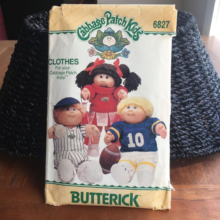 Cabbage Patch Clothes, Doll Clothes Pattern, UNCUT, Cabbage Patch Kids, 1984 Butterick 6827, Vintage Pattern, Cheerleader, Football,Baseball by GiftGarbBags on Etsy