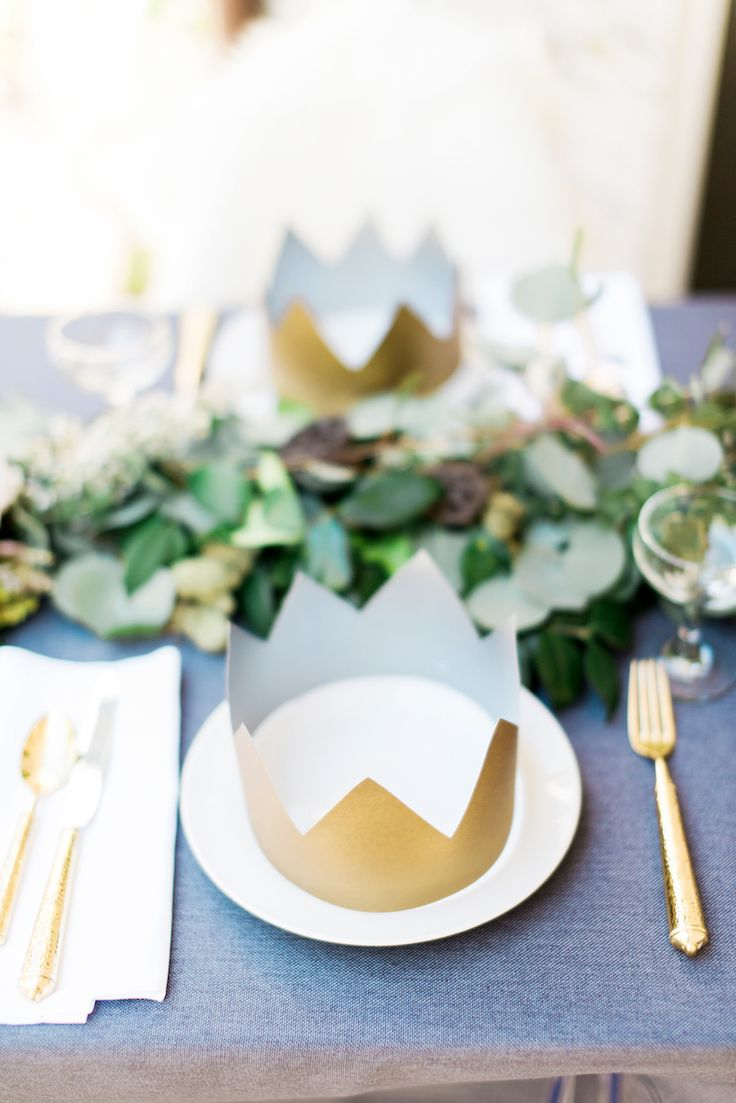 'Where the Wild Things Are' themed baby shower // leafy table runner, gold crowns