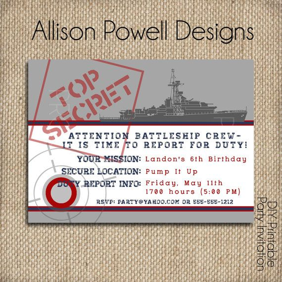 BattleShip Military Navy Army Birthday by allisonpowelldesigns