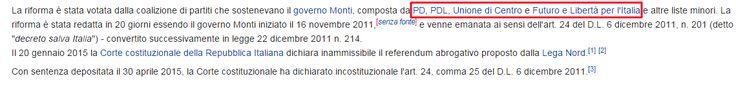 """Il babbeo non si smentisce mai, il PD secondo lui sono """" altri """". Riforma delle pensioni Fornero http://it.wikipedia.org/wiki/Riforma_delle_pensioni_Fornero"""