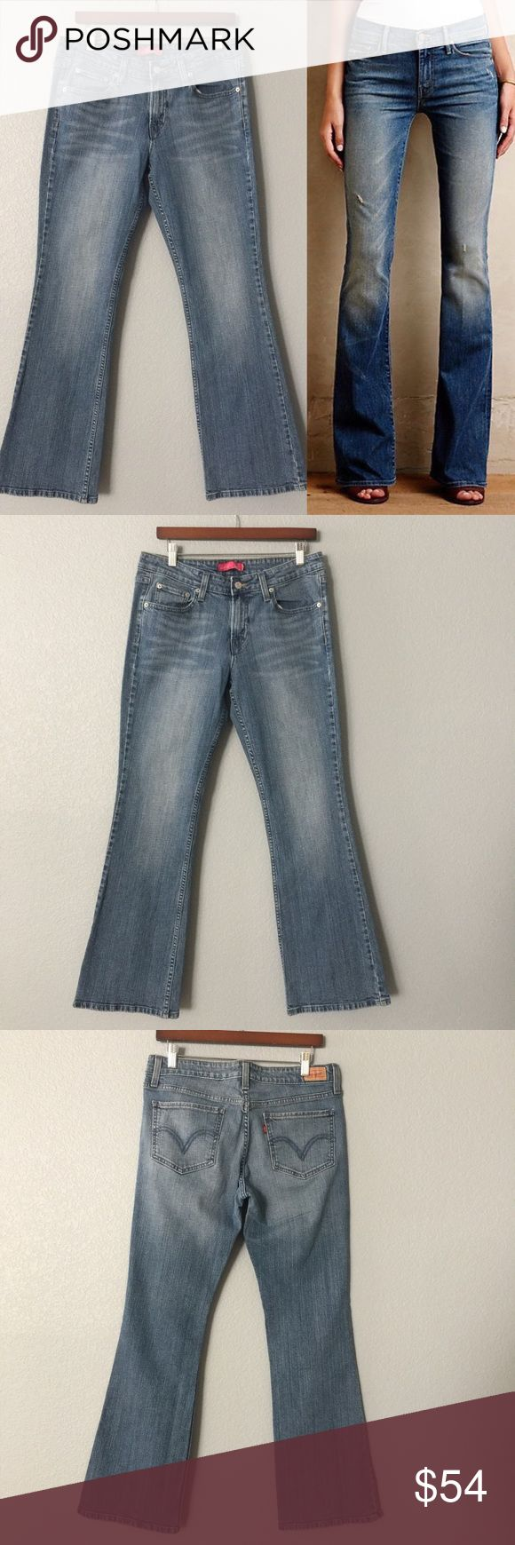 Medium wash boot cut Levi's NWOT The classic Levi's that never go out of style, this must have style, comes in a size 11 also known as a 30, it does say ultra low rise but this Is more of a mid rise with its 9 inch rise. Perfect fit with its 99% cotton and 1% Spandex 👍🏼 this is the old style # 518 that is now the # 715 ✅ will bundle 👌🏼✅🚭 ✅ all reasonable offers will be considered 👍🏼 🚫No Trading 🙅🏻 Poshmark rules only‼️ 📝Measurements taken laying flat…