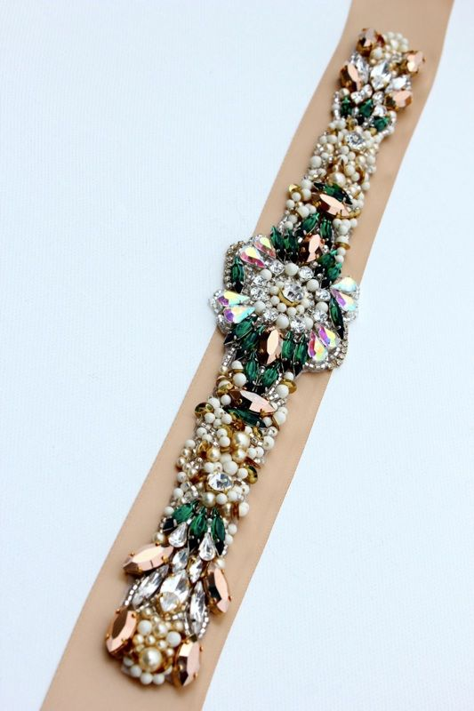 KNR Handmade Emerald Rose Gold Crystal Bridal Belt-Vintage Wedding-One of a Kind Hand Stitched