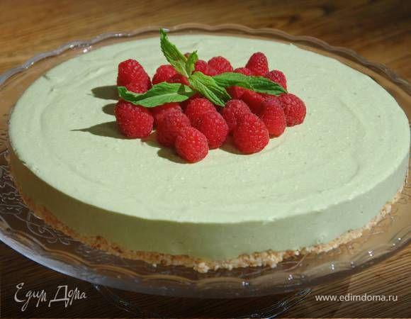 Кокосовый чизкейк на зеленом чае. Ингредиенты: творог, сыр сливочный, малина