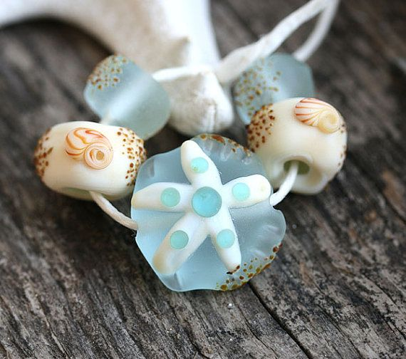 Etched Lampwork glass beads, Water blue Beach beads with Starfish and shells by MayaHoney   #forsale #etsy #glass #handmade #homemade #shopping #handcrafted #jewelrymaking #lampwork #mayahoney #beads #beach #shells #seaglass