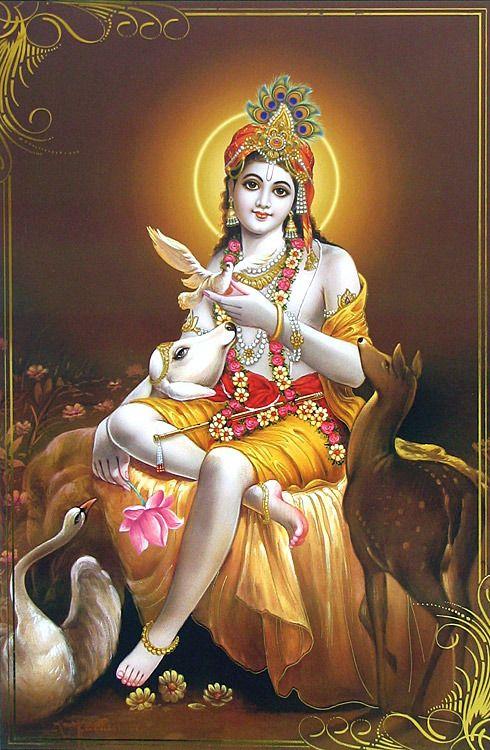 Animal Lover Krishna (Reprint on Paper - Unframed))