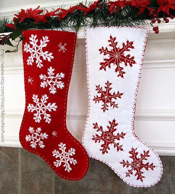Really beautiful! Set of Felt Snowflakes Christmas Stockings by MonoNoAvare on Etsy, $120.00