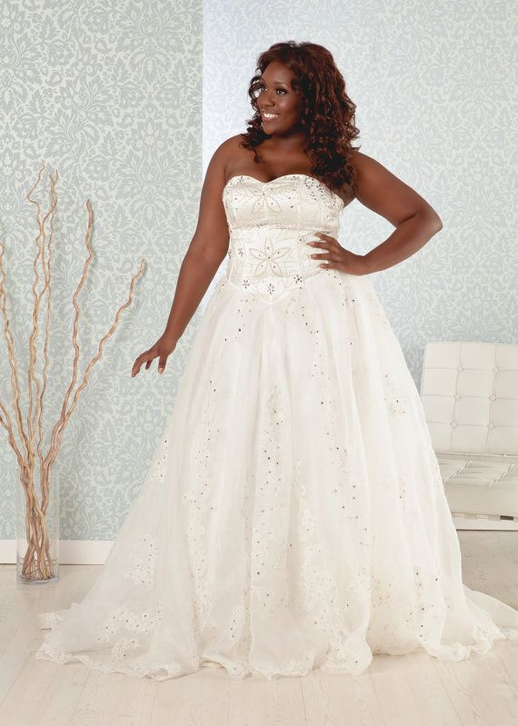 Plus Size Wedding Dress ALine glistening by RealSizeBride on Etsy