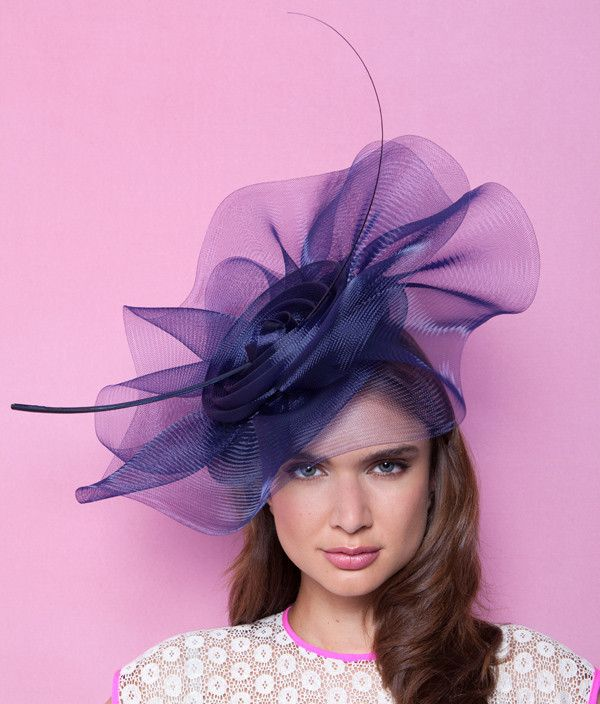 Pansy. Large Crin Coulis Hat—Gina Foster Millinery