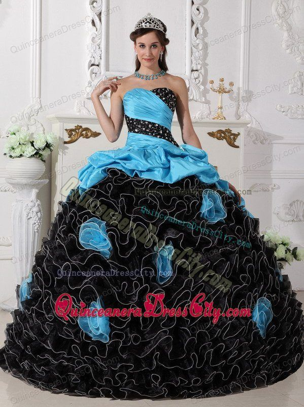 Quinceanera Dress in Blue and Black with Beading Sweetheart and Rolling Flowers - http://m.quinceaneradresscity.com