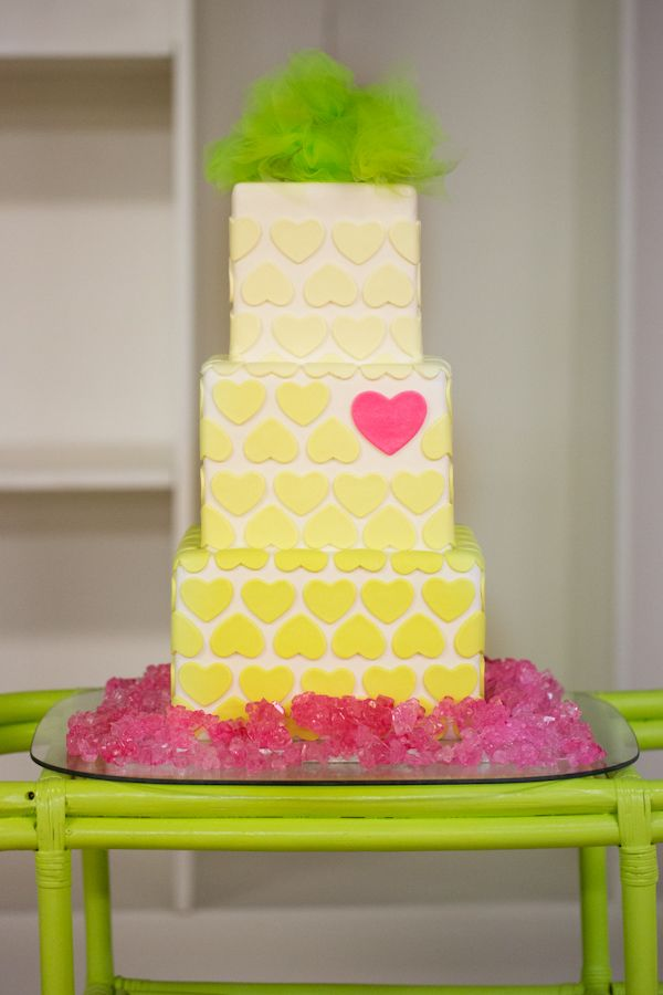 wedding cake with cutout hearts from Anamie's Sweets: Wedding Inspiration, Cakes Ideas, Neon Cakes, Heart Wedding Cakes, Yellow Wedding, Pink Heart, Eating Cakes, Pink Cupcakes, Heart Cakes