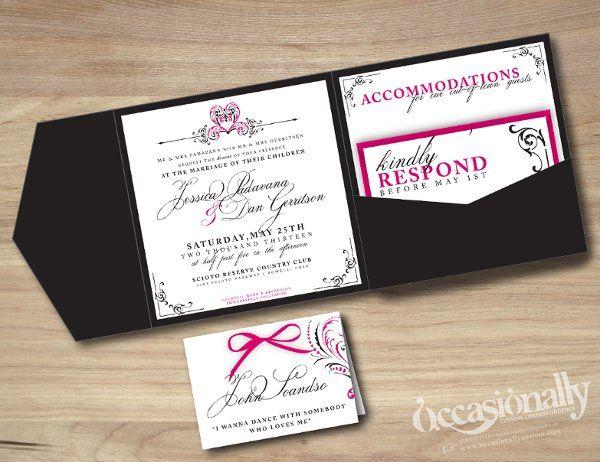Modern Pink & Black Full Pocket Square Wedding Invitation, Heart Scroll Design, & Seating Card w/ bow
