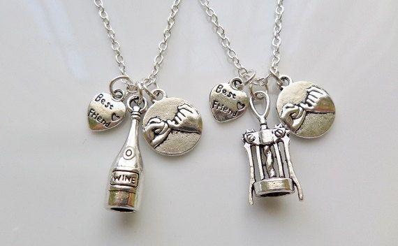 Pinky promettono collane, collane bottiglia di vino, apribottiglie, cavatappi elementi 3D Charm, regali per gli amanti del vino, Set di 2 collane di amico migliore