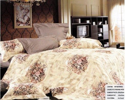 Lenjerie de pat bumbac Pucioasa cu patratele si buchete de flori