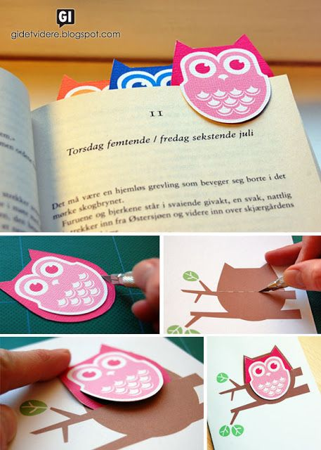 Gi det videre | Pay it forward: Bokugler med kort | Owl bookmarks and card - Could kids make their own shapes with this as inspiration?