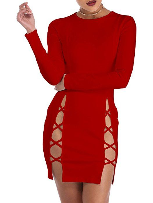 4d549470757 Amazon.com  TOB Womens Sexy Summer Bodycon Long sleeves Lace up Mini Club  Dress Red