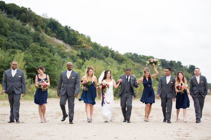 Happy wedding party on the beach - Scarborough Bluffs Wedding, Bluffers Park #sweetheartempirephotography