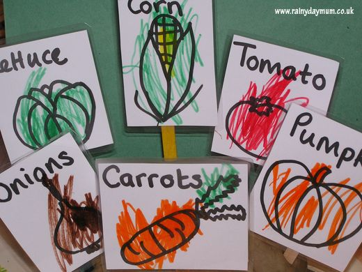 Simple Plant Labels to make with Toddlers and Preschoolers to accompany the book The Carrot Seed