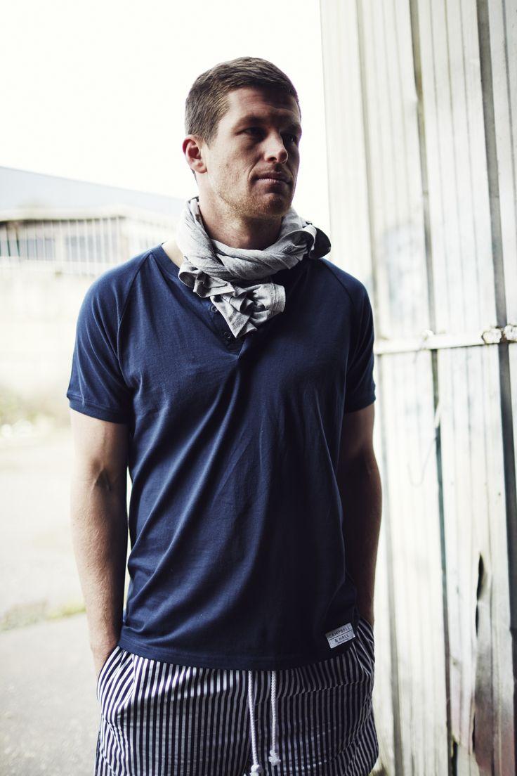 Scott wears Lamrock Henley Tee Navy | Penkivil Boxer Shorts in Stripes #campbellandhall #stripes #navy #menswear