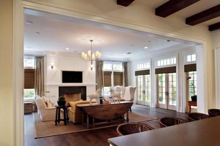 open: Floors Plans, Living Rooms, Open Spaces, Window, French Doors, Lane Group, Rooms Ideas, Families Rooms, Wood Beams