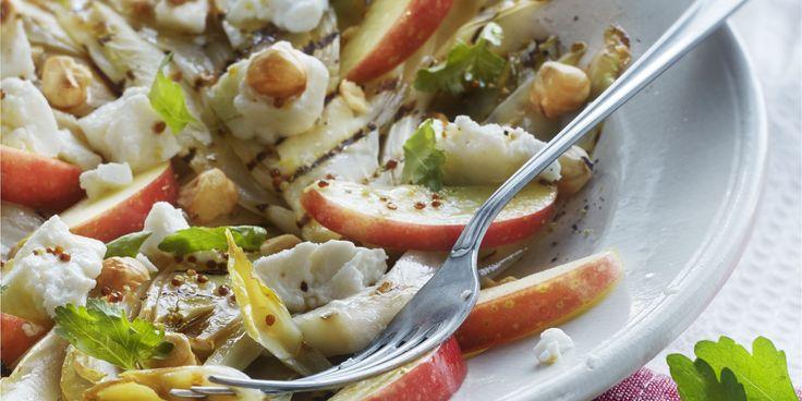 Boodschappen - Salade van gegrilde witlof met geitenkaas en appelvinaigrette