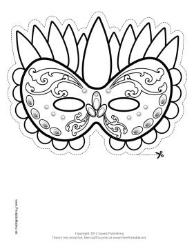Festive Mardi Gras Mask to Color Printable Mask