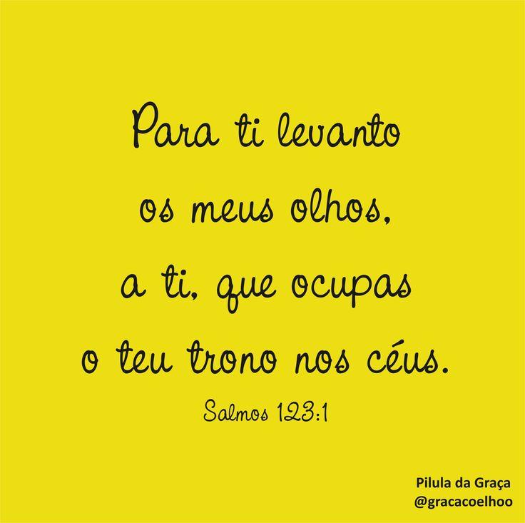 Para ti levanto os meus olhos, a ti, que ocupas o teu trono nos céus. (Salmos 123.1)