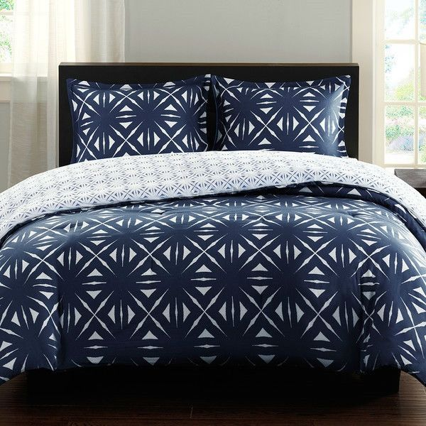 Thumbnail for King Navy Lattice Geometric Reversible Comforter Set
