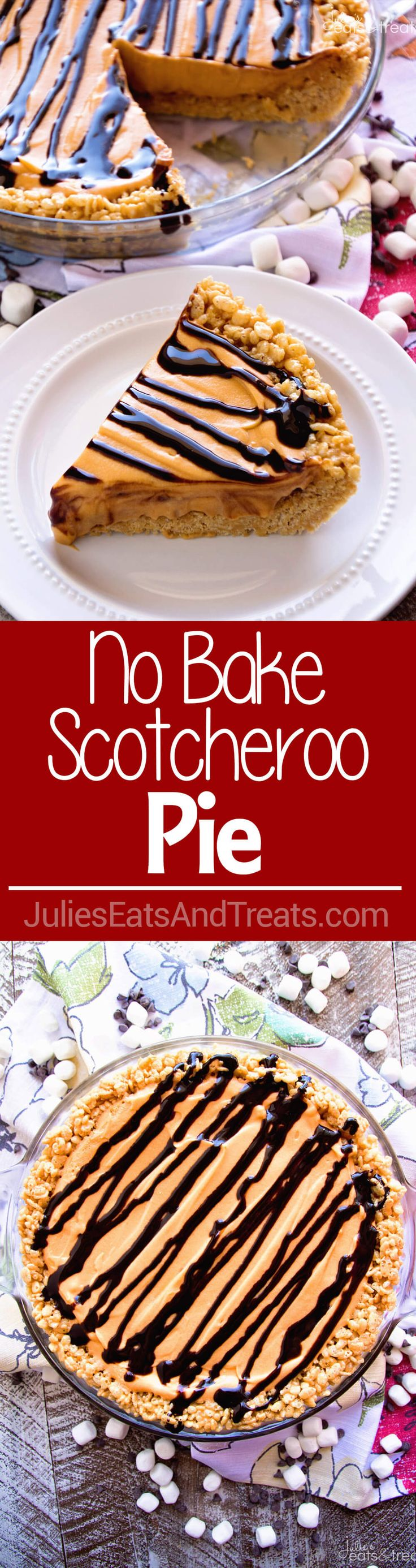 No Bake Scotcheroo Pie Recipe ~ A Delicious Peanut Butter Rice Krispie Pie Crust Topped with Butterscotch Pudding and Topped with Chocolate! ~ http://www.julieseatsandtreats.com