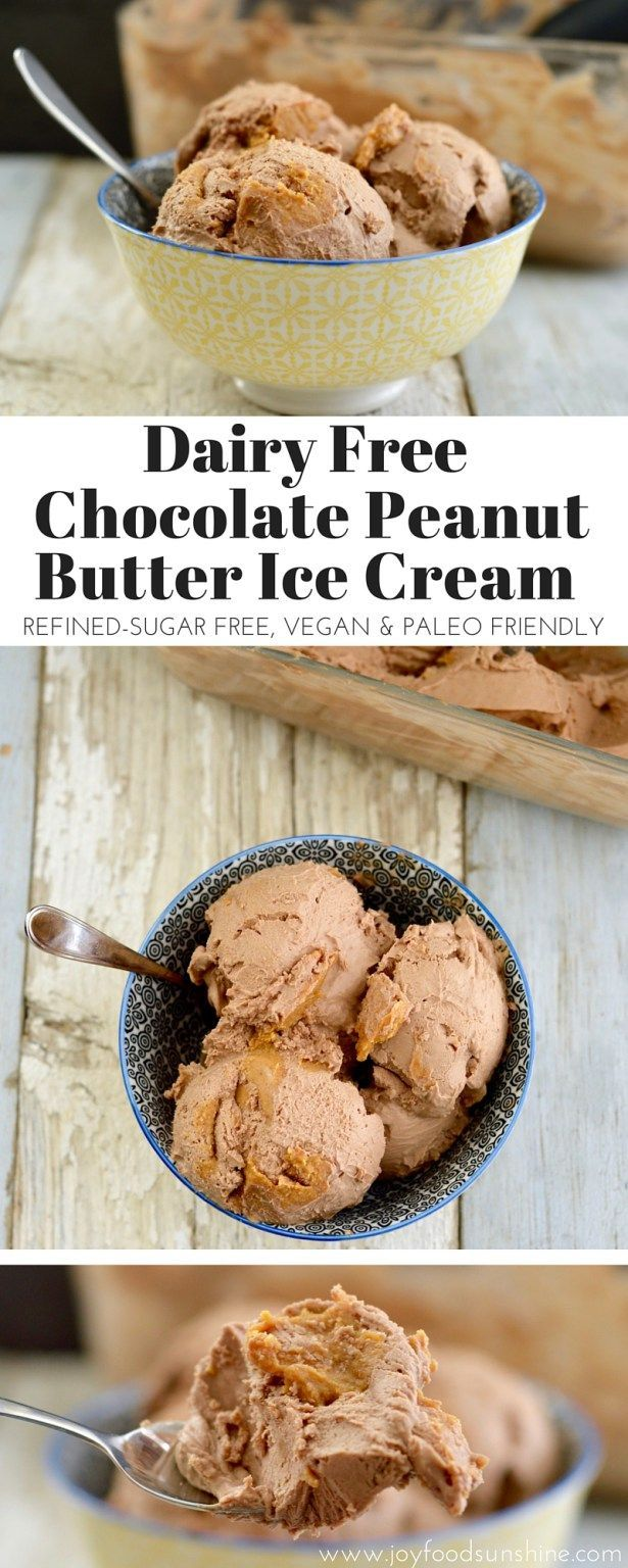 Dairy-Free Chocolate Peanut Butter Ice Cream! A healthy ice cream recipe that is ultra creamy. Made with 6 good-for-you ingredients! Dairy-free, gluten-free, refined sugar free, vegan & paleo friendly!  http://joyfoodsunshine.com/dairy-free-chocolate-peanut-butter-ice-cream/