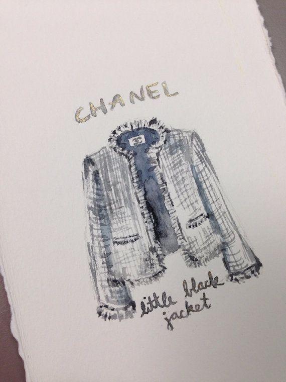 ORIGINAL Chanel Little Black Jacket Painting  Iconic by LimbTrim, $25.00