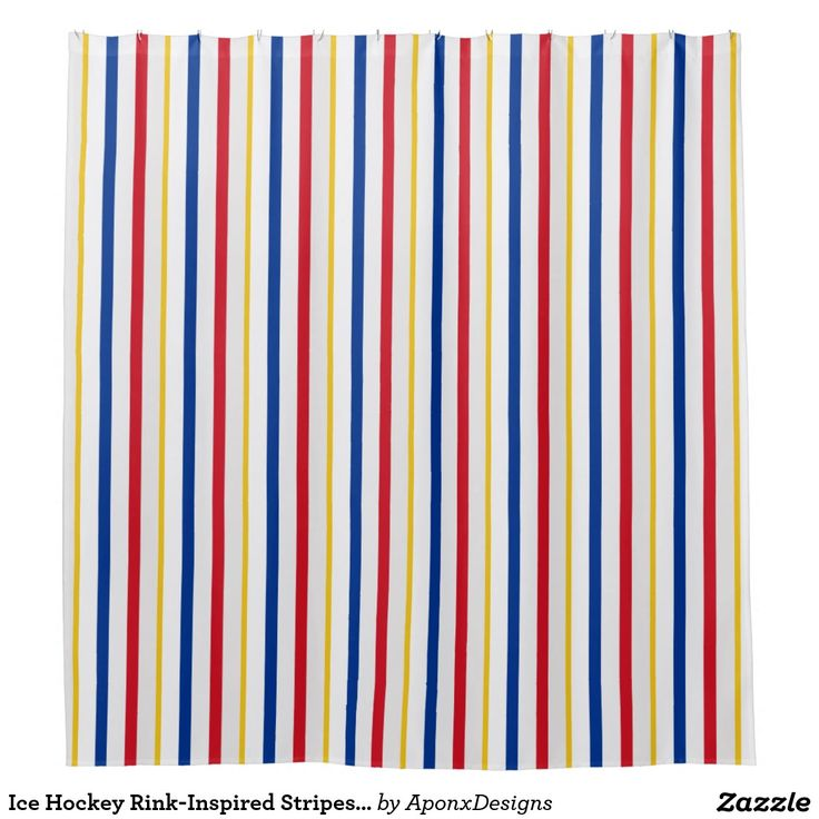 Ice Hockey Rink-Inspired Stripes Shower Curtain