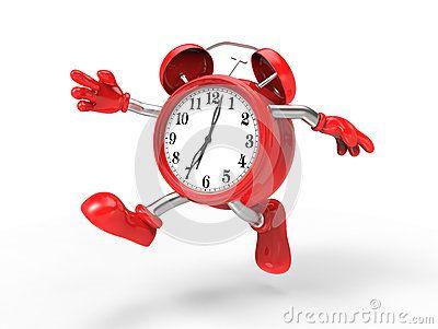 Character alarm clock run,  on white background