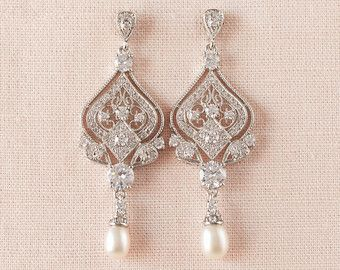 Braut Ohrringe Vintage Stil Swarovski Crystal von CrystalAvenues
