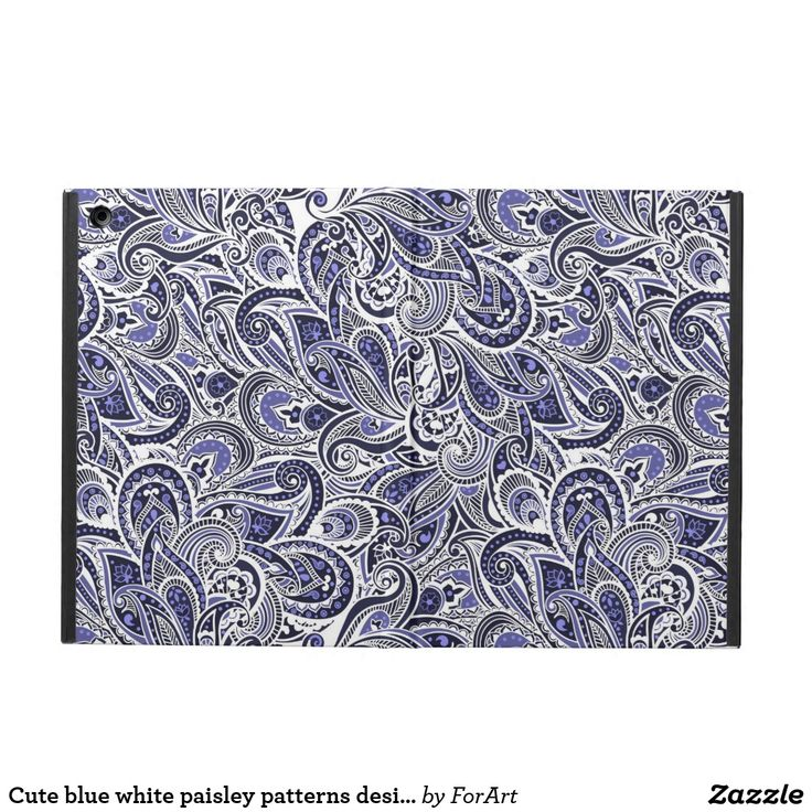 Cute blue white paisley patterns design iPad Air case