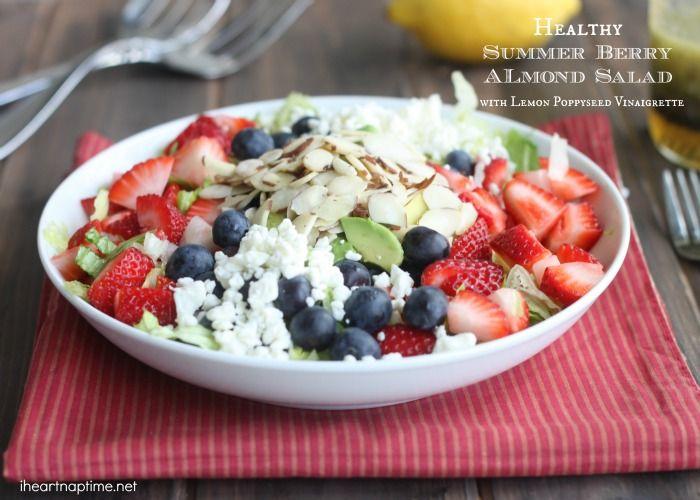 Healthy Berry Almond Chopped Salad with Lemon Poppyseed Vinaigrette!